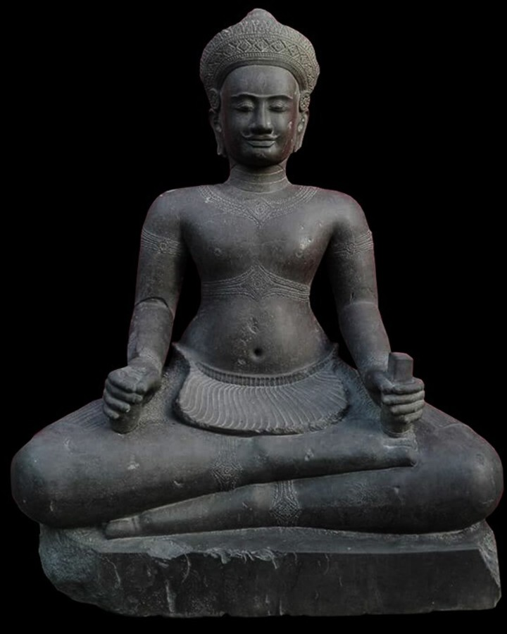 Antique KHMER SEATED SHIVA, KOH KER, 10TH CENTURY