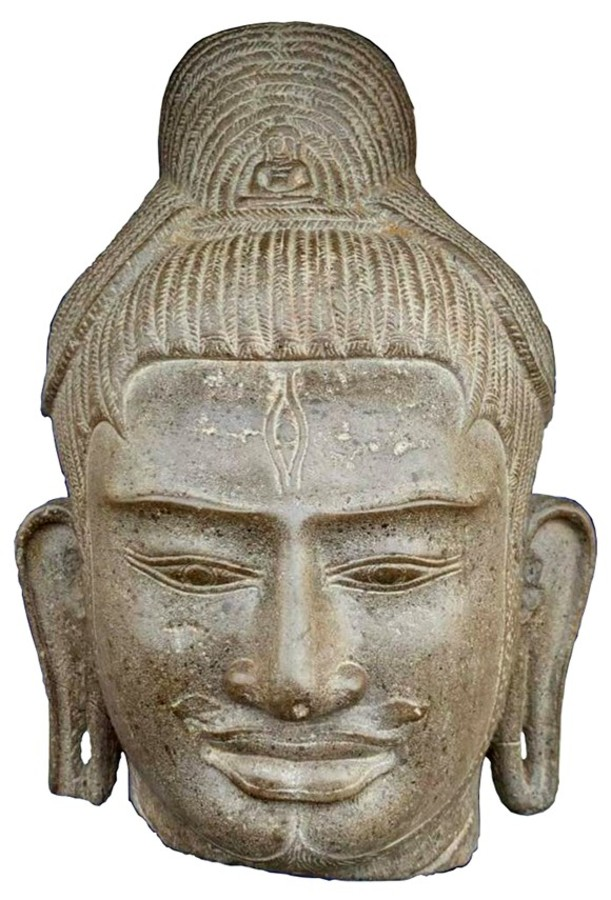 LARGE KHMER HEAD OF LOKESHVARA, BAPHUON, 10TH CENTURY