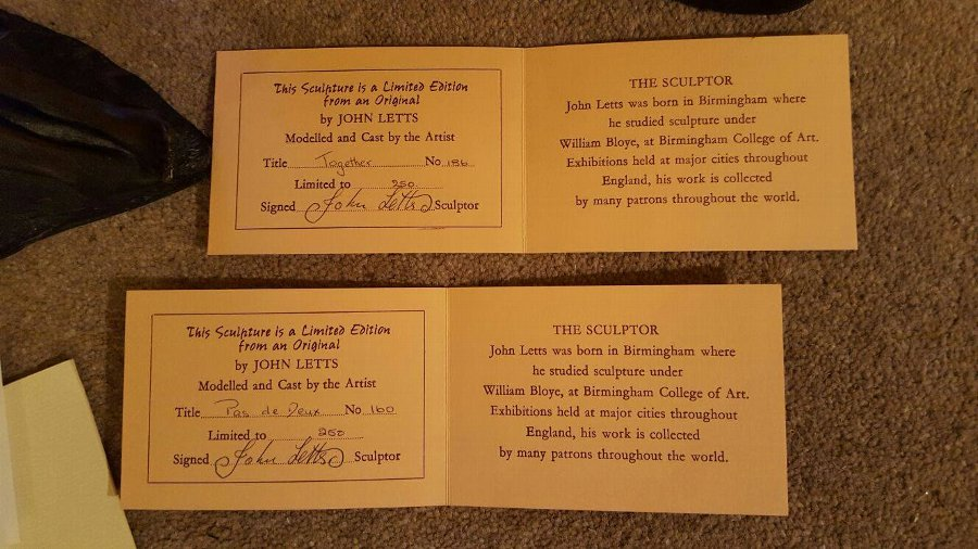 Antique Bronze Resin Sculptures by John Letts with certificate 6 Pieces