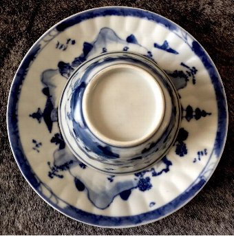 Antique Chinese real antique Blue & white Kangxi(1662-1722)tea bowl & saucer set