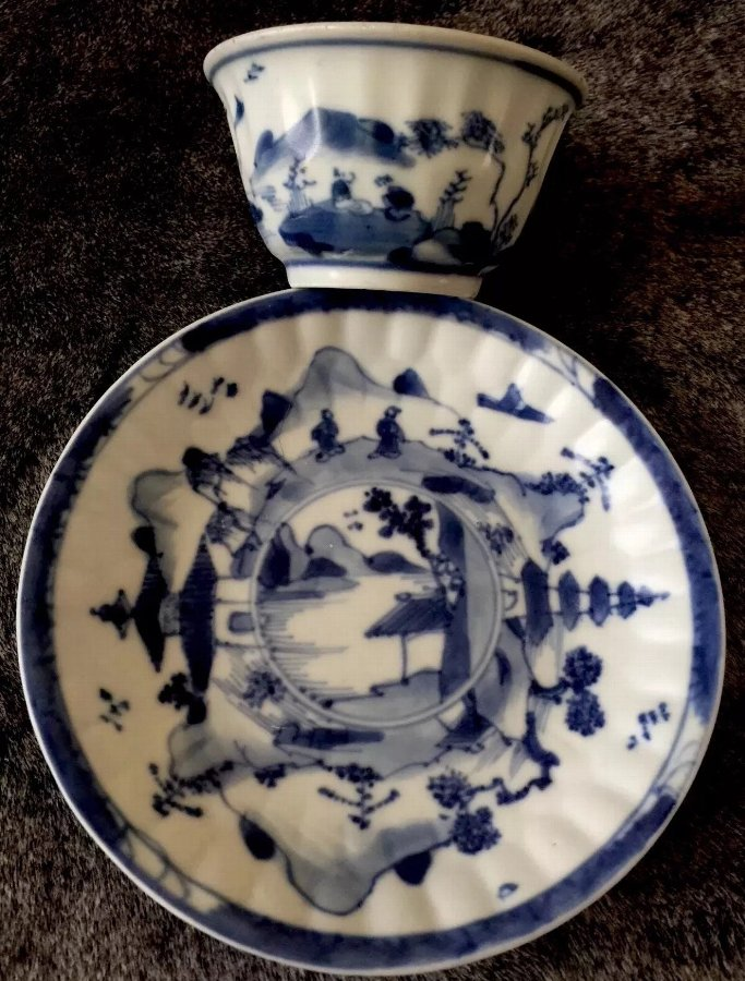 Chinese real antique Blue & white Kangxi(1662-1722)tea bowl & saucer set