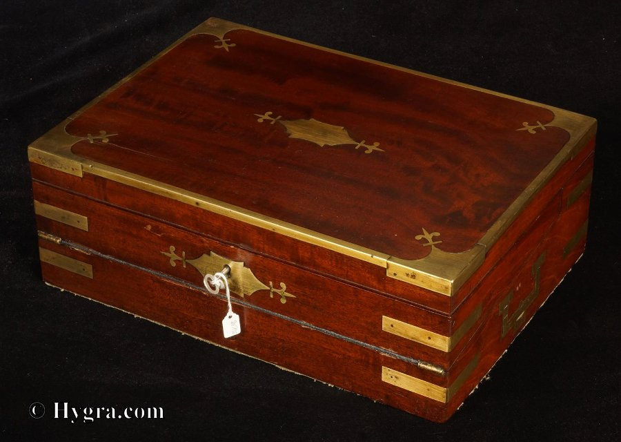Brass bound Georgian  Solid Mahogany Triple Opening Writing Box circa 1810