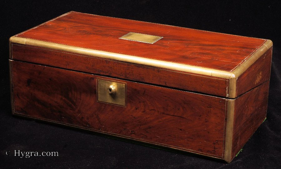 Antique Brass Edged Writing box with Bramah Lock and Secret drawers Circa 1860