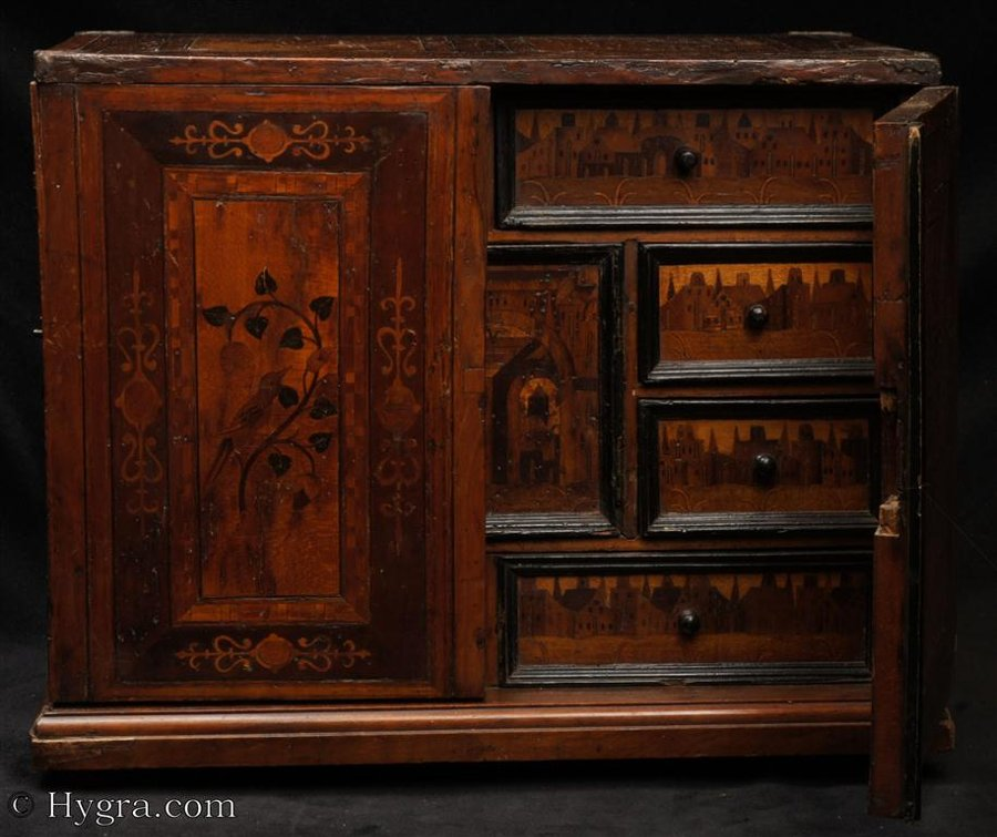 Antique South German Intarsia Cabinet of Curiosities Circa 1700