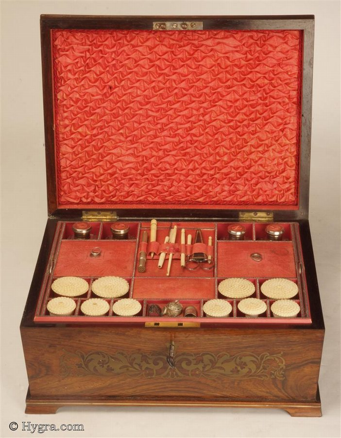 Antique David Edwards Fitted Sewing Box with solid Rosewood Top Inlayed with Brass Circa 1820