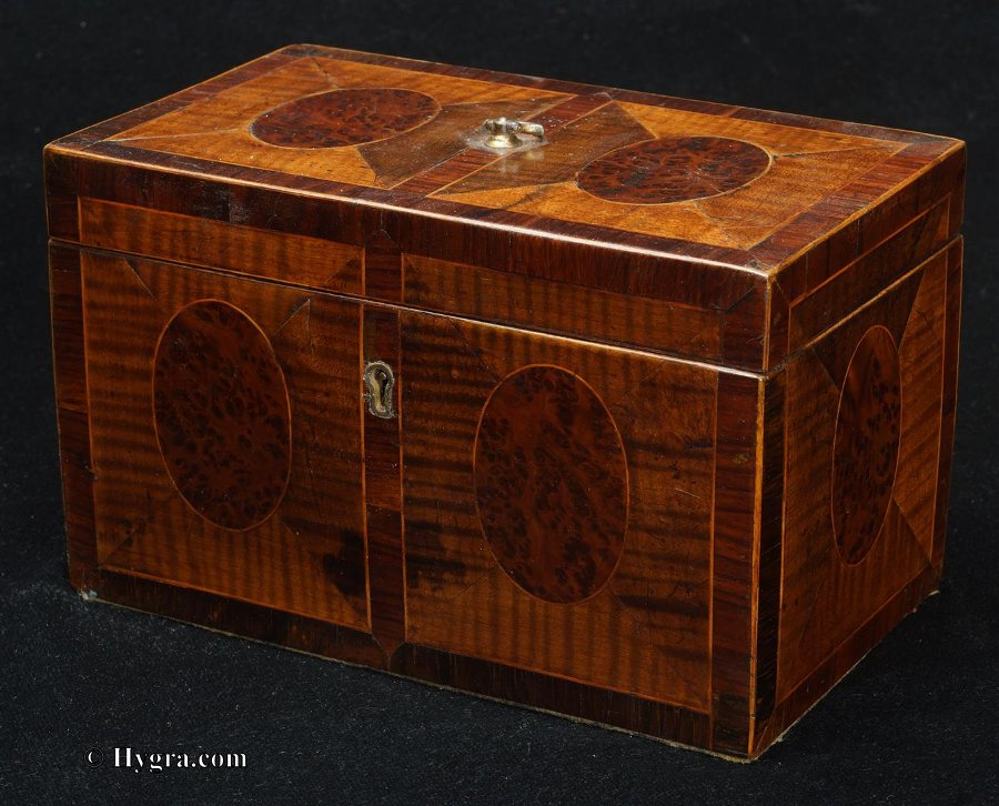 Antique 18th Century Tea Chest in harewood and burr yew, crossbanded in kingwood. Circa 1790