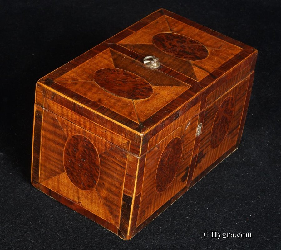 Antique Antique 18th Century Tea Chest in harewood and burr yew, crossbanded in kingwood. Circa 1790