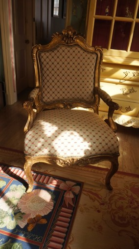 19th Century French giltwood open armchair