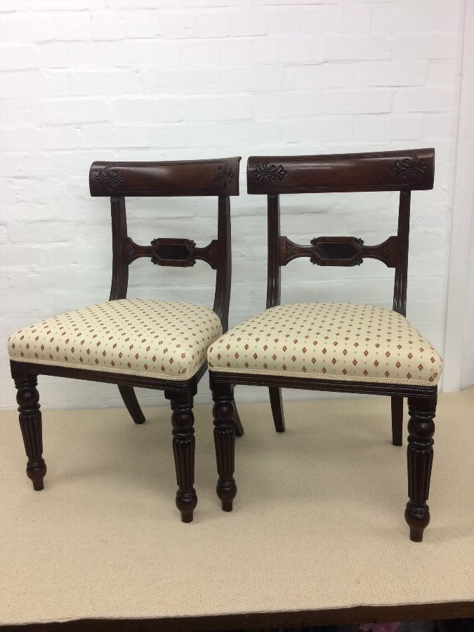 A Pair of Victorian Mahogany Bar Back Chairs