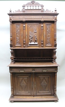 Antique Tall Old French Oak Buffet Sideboard