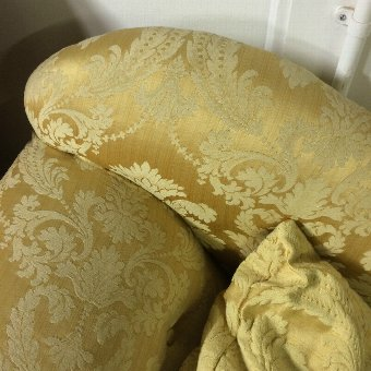 Antique Chaise Longue - Victorian stunning yellow Damask very original