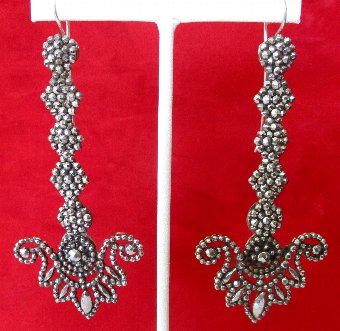 Antique Pair of Turn-Of-The-Century Cut Steel Earrings