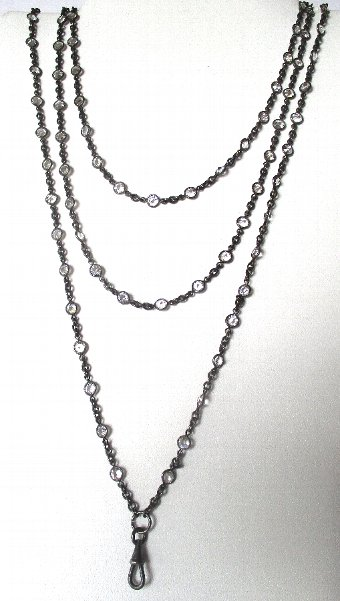 Antique Victorian 60-Inch  Gunmetal Chain With 100 Paste Brilliants