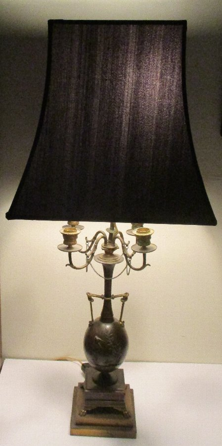 C. 1860 Bronze Lamp from Henri Cahieux & Barbedienne Foundry