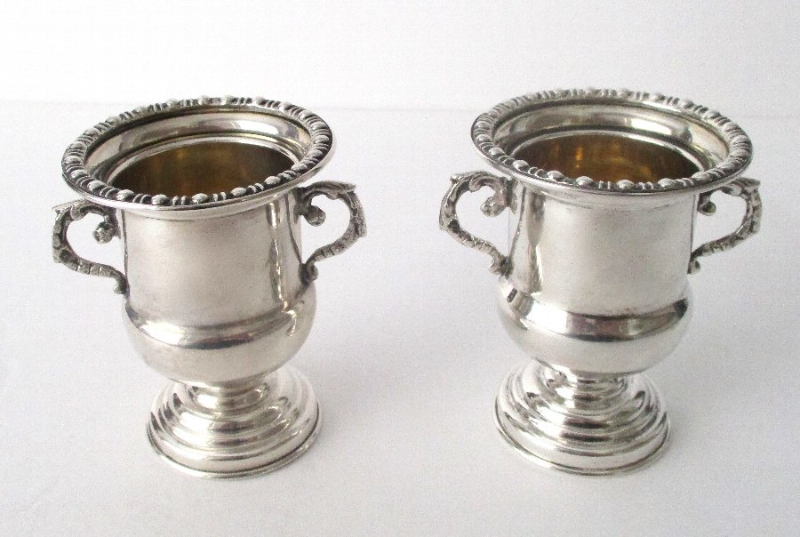 Pair of Antique 900 Silver Mini-Urns
