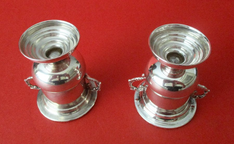 Antique Pair of Antique 900 Silver Mini-Urns