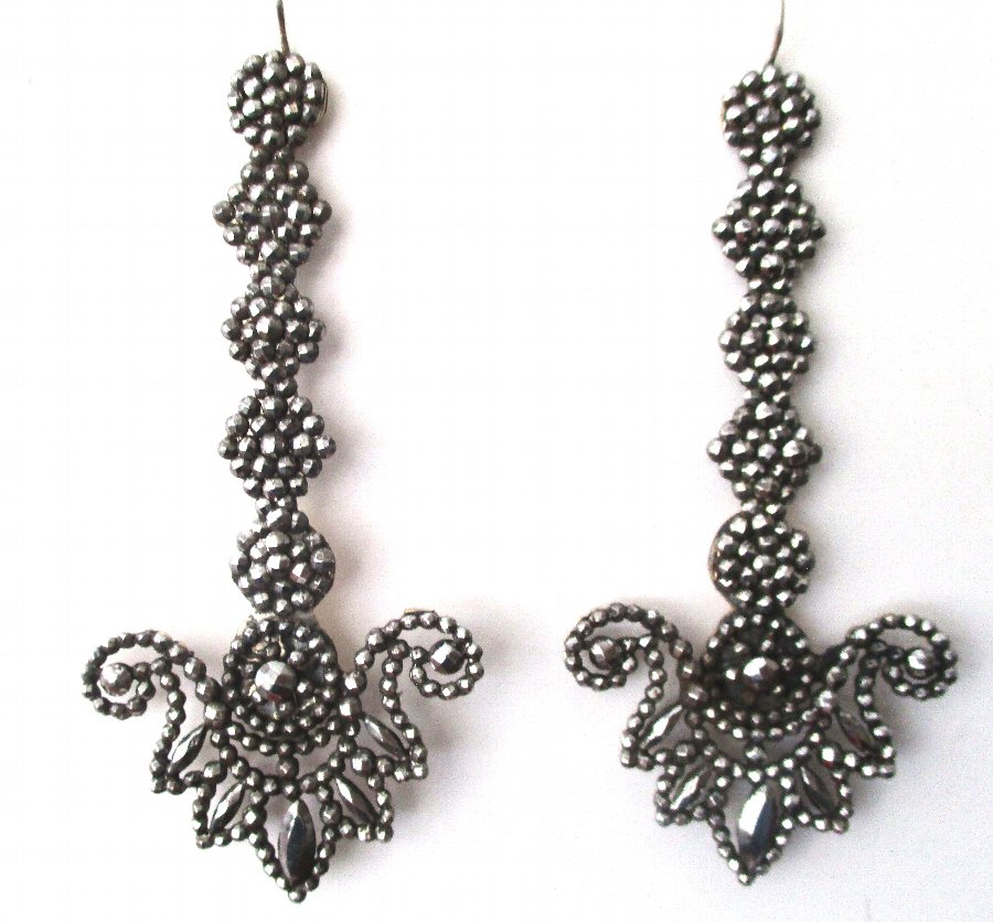 Pair of Turn-Of-The-Century Cut Steel Earrings