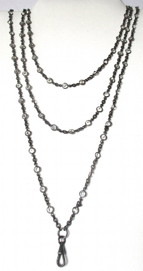 Victorian 60-Inch  Gunmetal Chain With 100 Paste Brilliants