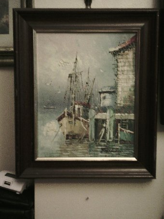 Antique Florance oil painting boat scene at harbour