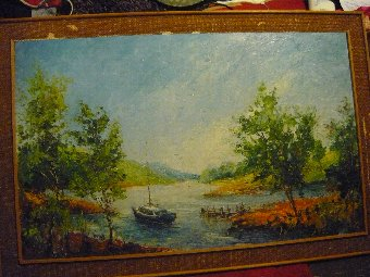 Antique oil painting large scene boat at shore