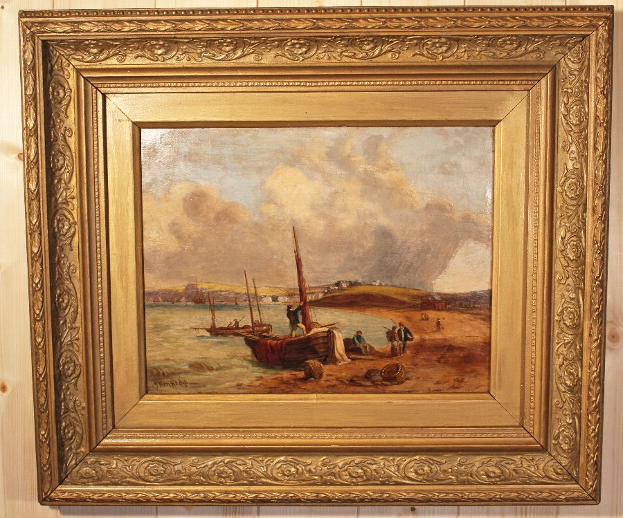 Antique Antique Painting. Budleigh Salterton. By Joseph Kennedy 1838 - 1893