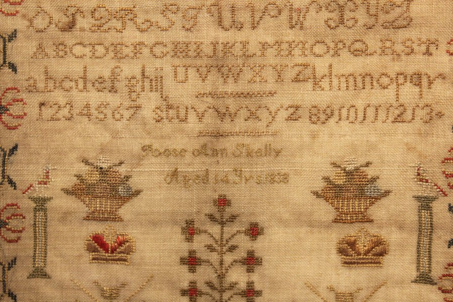 Antique Early Victorian Needlework Sampler.