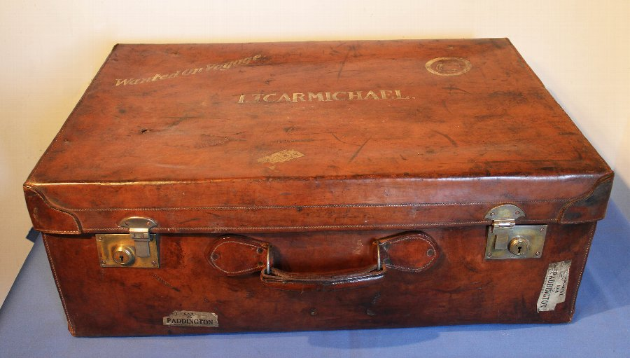 Antique Suitcase, Large, Full Hide, Brown, Leather, Vintage, Luggage