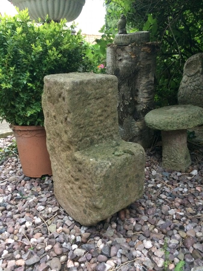 Antique early 19th century limestone horse mounting block