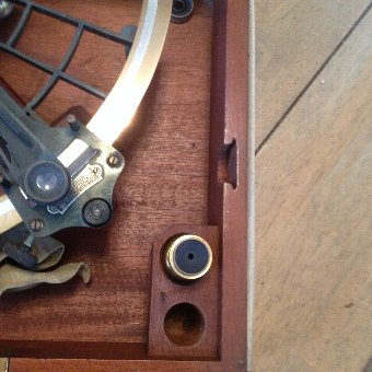 Antique 1938 antique hezzanith sextant in original mahogany box