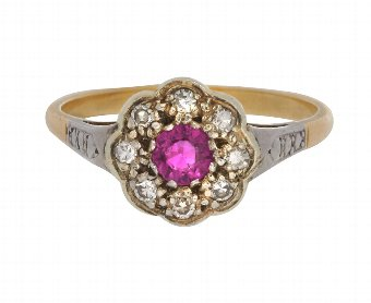 Antique Antique Edwardian 18ct Gold 0.30ct Ruby & Diamond Cluster Ring