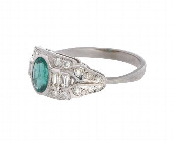 Antique Vintage Art Deco 18ct White Gold 0.64ct Emerald & Diamond Cocktail Ring