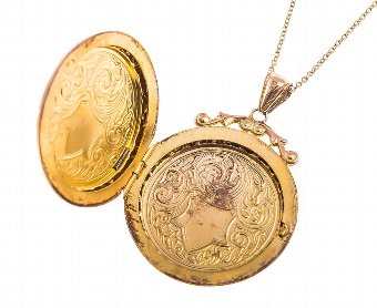 Antique Antique Victorian Round Golden Locket