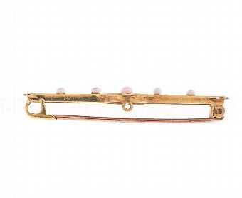 Antique Antique Victorian 15ct Gold Seed Pearl Bar Brooch