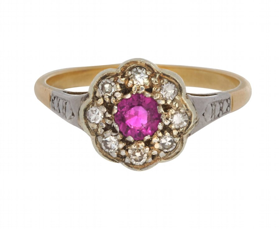 Antique Edwardian 18ct Gold 0.30ct Ruby & Diamond Cluster Ring
