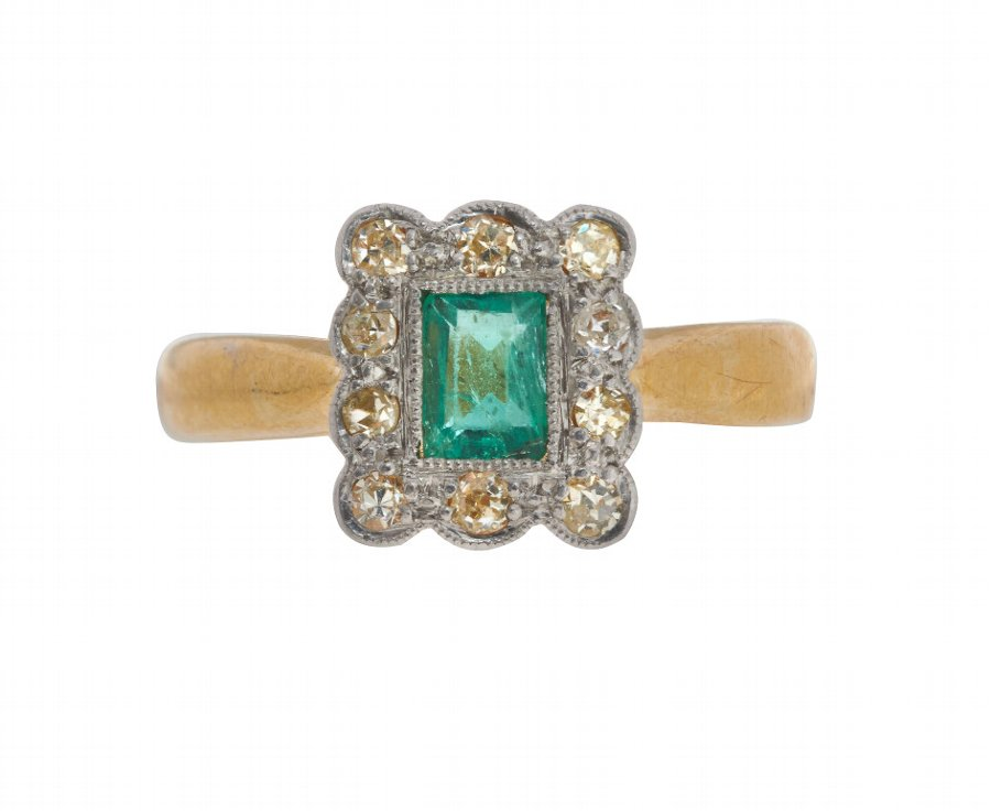 Antique Victorian 22ct Gold 0.25ct Emerald & Diamond Cluster Ring