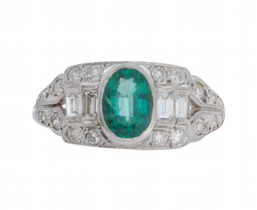 Vintage Art Deco 18ct White Gold 0.64ct Emerald & Diamond Cocktail Ring