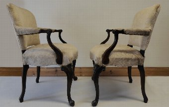 Antique Superb pair of victorian antique mahogany chairs 1880