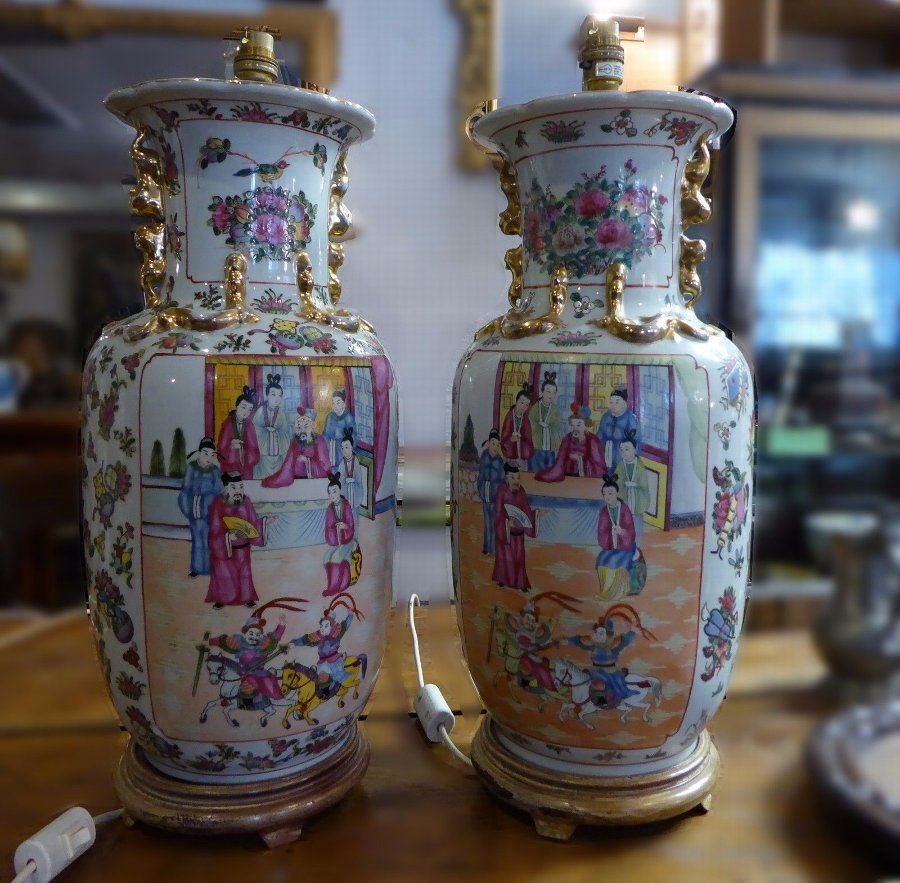Antique Pair of Decorative Cantonese vases converted to electric lamps
