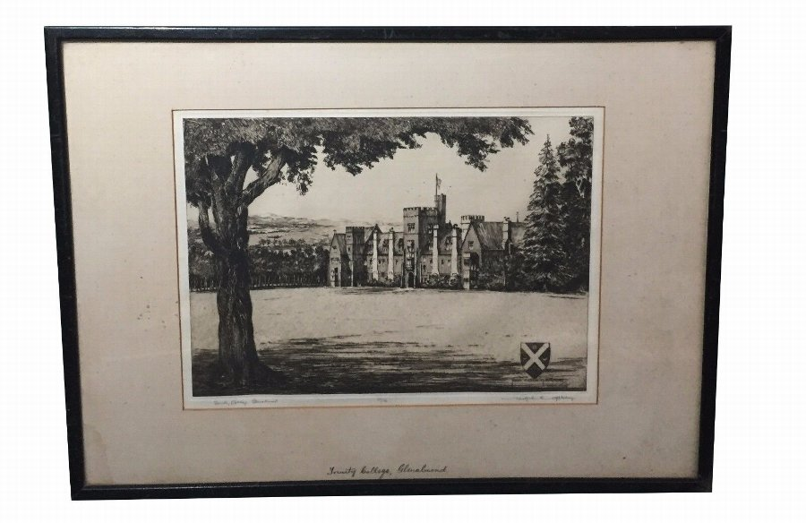 Antique Trinity College, Glenalmond Scotland - by Wilfred Appleby (b.1889) Antique Art
