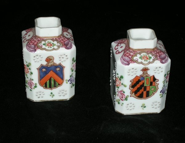 Pair Chinese Style Samson Porcelain Tea Caddys
