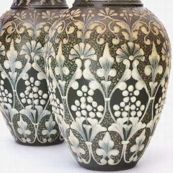 Antique Exquisite Pair of Doulton Lambeth Pate-Sur-Pate Vases by Eliza Simmance 1881