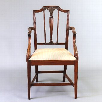 Antique Sheraton Revival Edwardian Mahogany Elbow Chair c1905