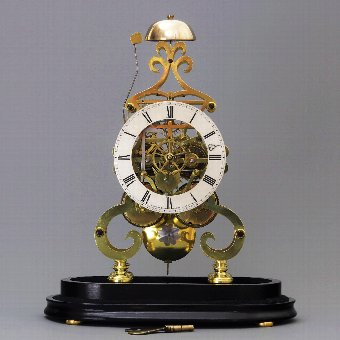 Antique Double Fusee Skeleton Clock with Dome by A.B. Savory & Sons Cornhill c.1850