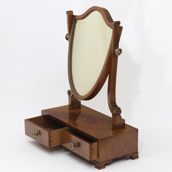 Antique Late Victorian Curl-Mahogany Shield Dressing Table /Toilet Mirror c1890