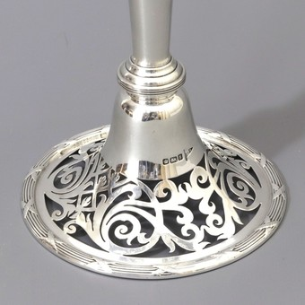 Antique Tall Pieced Silver Trumpet Vase by Walker & Hall Sheffield 1910