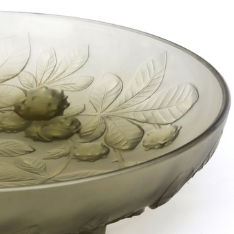 Antique Large Verlys Smoked Glass Bowl With Horse-Chestnut Decoration c1930