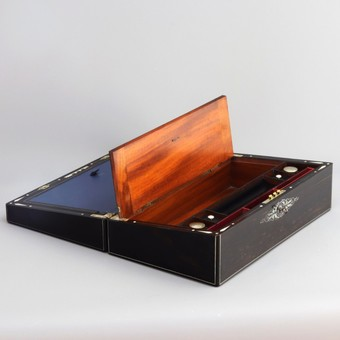 Antique Mid-19th Century Ebony and Mother-of-Pearl Inlaid Writing Slope
