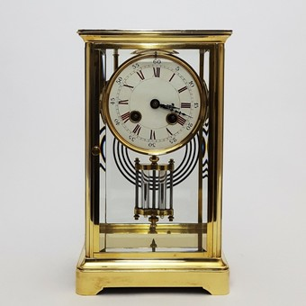 Antique Brass Four Glass French Striking Mantle Clock c.1870