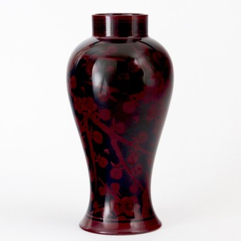 Tall Bernard Moore Flambe Vase Decorated by Hilda Carter c1910