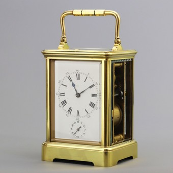 Antique Striking Repeat Carriage Clock With Alarm By Leroy & Cie c1900